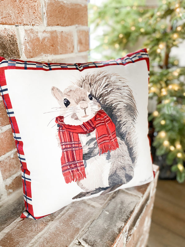 Pillow with plaid border