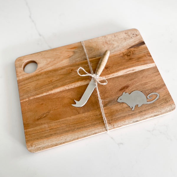 Two piece set Charcuterie board with mouse