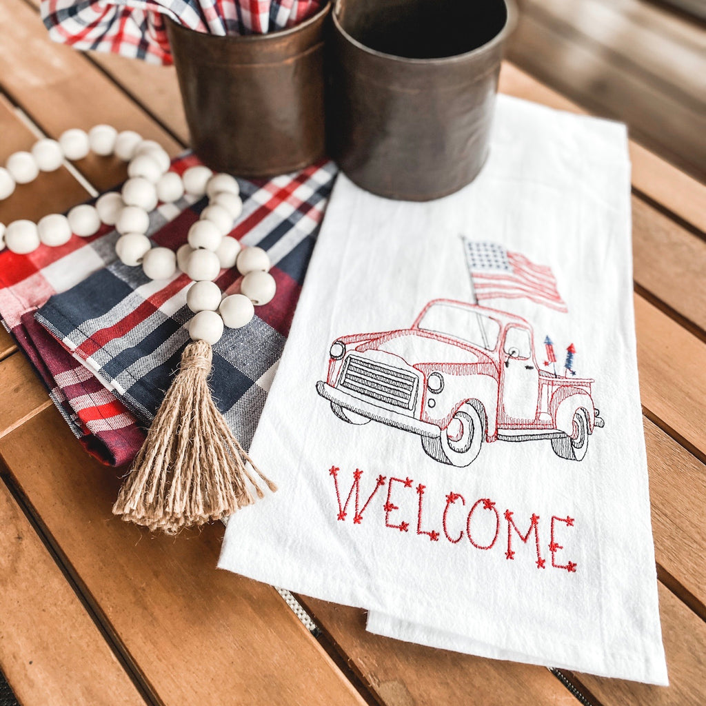 Patriotic red truck towel