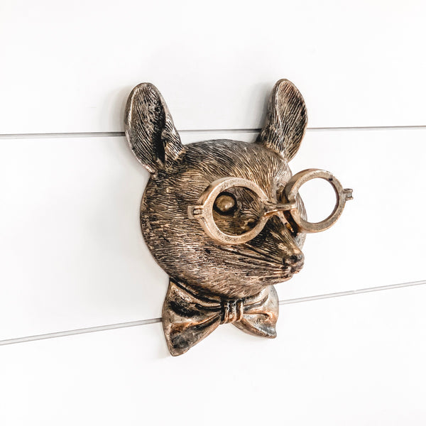 Brass mouse wall mount with spectacles