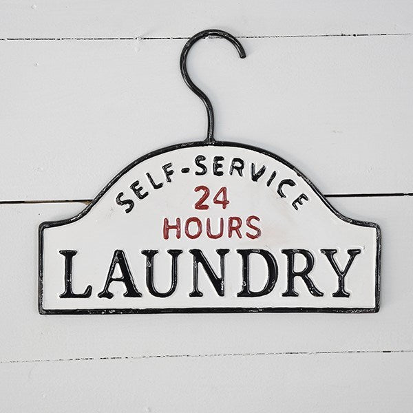 Metal hanger laundry sign