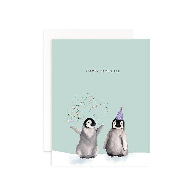 Happy Birthday penguins greeting card