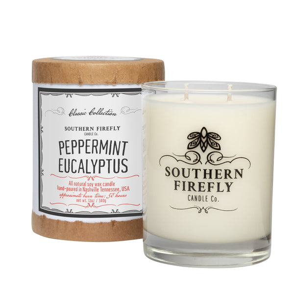 """Peppermint Eucalyptus"" Candle, 12 oz glass jar by Southern Firefly"