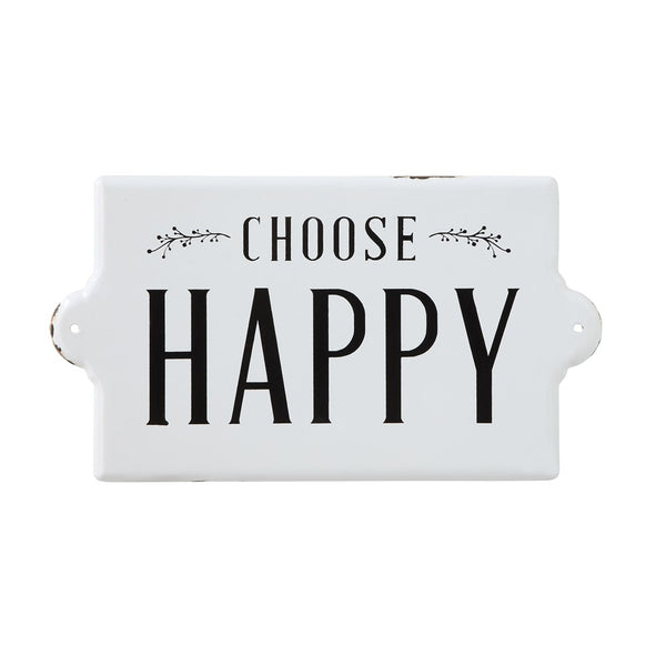 """Choose happy"" enamel sign"