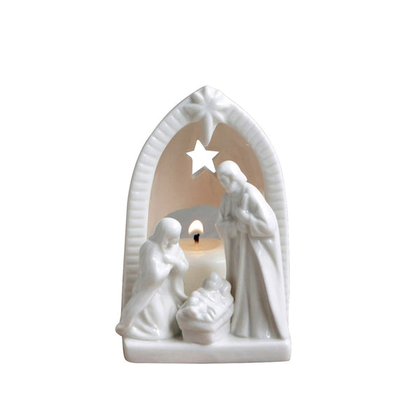 Nativity tealight holder, 4.25""