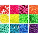 Neon Colors 6 x 9mm Pony Bead Variety Pack - 12 packs (6000 beads)