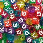 Plastic Color Cube Alphabet Beads 7mm