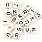 Plastic White Cube Alphabet Letter Beads 6mm