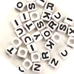 Plastic White Cube Alphabet Letter Beads 7mm