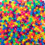 Bright Neon Colors Multi Color Mix Plastic Craft Pony Beads, Bead Size 6 x 9mm in bulk bag of 500 beads per package