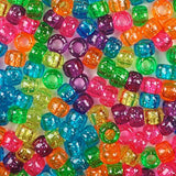 Bright Glitter Multi Color Mix Plastic Craft Pony Beads, Bead Size 6 x 9mm in bulk bag