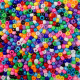 Opaque Multi Color Mix Plastic Craft Pony Beads, Bead Size 6 x 9mm, in bulk bag