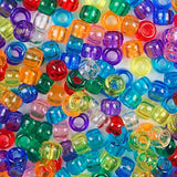 Transparent Multi Color Mix Plastic Craft Pony Beads, Bead Size 6 x 9mm in bulk bag