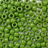 Olive Green Opaque Plastic Pony Beads 6 x 9mm, 1000 beads