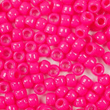 Neon Pink Plastic Craft Pony Beads, Plastic Bead Size 6 x 9mm in bulk bag