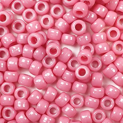 Mauve Pink Opaque Plastic Craft Pony Beads, Plastic Bead Size 6 x 9mm in bulk bag