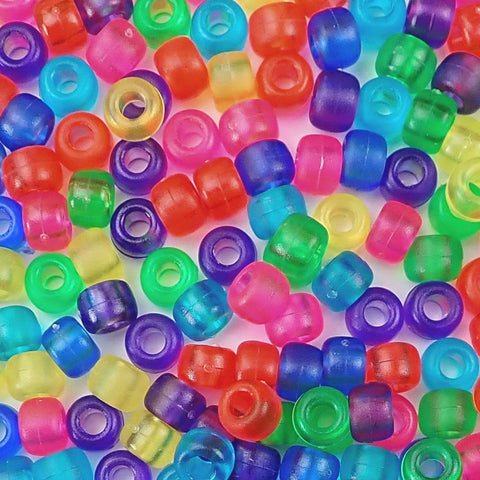 Frosted Multi Color Mix Plastic Craft Pony Beads, Bead Size 6 x 9mm in bulk bag