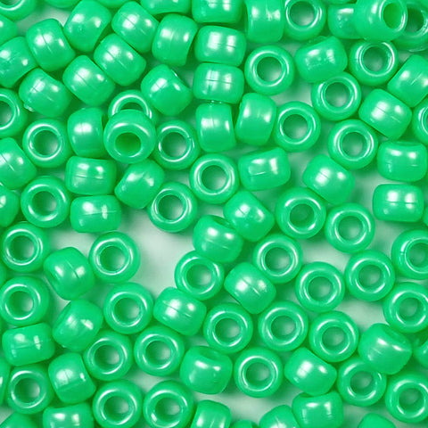 Light Green Pearl Plastic Pony Beads 6  x 9mm, 1000 beads