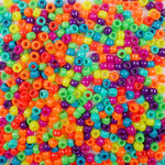 Bright and Bold Colors Multi Color Mix Plastic Craft Pony Beads, Bead Size 6 x 9mm in bulk bag