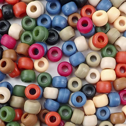 Americana Multi Color Mix Plastic Craft Pony Beads, Bead Size 6 x 9mm in bulk bag