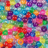Rainbow Glitter Multi Color Mix Plastic Craft Pony Beads, Bead Size 6 x 9mm in bulk bag
