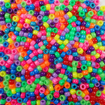 Rainbow Opaque Multi Color Mix Plastic Craft Pony Beads, Bead Size 6 x 9mm in bulk bag