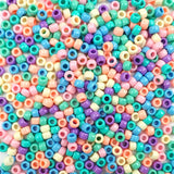 Pastel Multi Color Mix Plastic Craft Pony Beads, Size 6 x 9mm