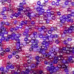 Violet Colors Multicolor Mix Plastic Craft Pony Bead in shades of dark and light purple and pink, Plastic Bead Size 6 x 9mm in bulk bag