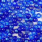 Mix of Dark Blue Colors Plastic Craft Pony Beads, Plasitc Bead Size 6 x 9mm in bulk bag