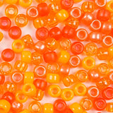 Mix of Orange Colors of Plastic Craft Pony Beads, Bead Size 6 x 9mm in a bulk bag