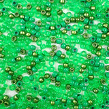 Mix of Green Colors Plastic Craft Pony Beads, Plastic Bead Size of 6 x 9mm in a bulk bag