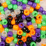 Halloween Colors Multicolor Mix Plastic Craft Pony Beads, Bead Size 6 x 9mm in a bulk bag
