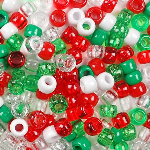 Christmas Theme Multicolor Mix Plastic Craft Pony Beads, Plastic Bead Size 6 x 9mm in bulk bag