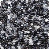 Black and Gray Mix of Plastic Craft Pony Beads, Bead Size 6 x 9mm in a bulk bag