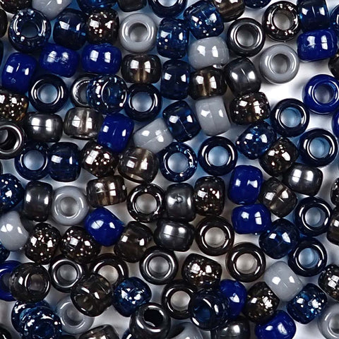 Dark Blue and Gray Multi-color Mix of Plastic Craft Pony Beads, Bead Size 6 x 9mm in a bulk bag