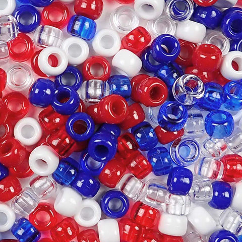 Patriotic Red, White and Blue Multi-color Mix of Plastic Craft Pony Beads, Bead Size 6 x 9mm in a bulk bag