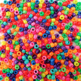 Size 6 x 9mm Plastic Craft Pony Beads in a mix of Brilliant Neon Colors