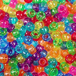 Rainbow Glitter Colors Plastic Craft Pony Beads, Size 6 x 9mm