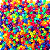 Size 6 x 9mm Plastic Craft Pony Beads in a mix of Vivid Neon Bright colors