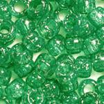 Emerald Green Glitter Plastic Craft Pony Beads, Size 6 x 9mm