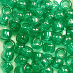 Emerald Green Transparent Plastic Craft Pony Beads, Size 6 x 9mm