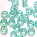 Light Aqua Green Glitter Plastic Craft Pony Beads, Size 6 x 9mm