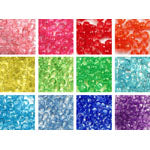 Rainbow Transparent 6 x 9mm Pony Bead Variety - 12 packs (6000 beads)