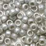Medium Silver Gray Pearl Plastic Craft Pony Beads, Size 6 x 9mm