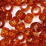 Tortoise Transparent Plastic Craft Pony Beads, Size 6 x 9mm