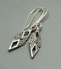 Argyle - Textured Vintage Pewter Diamond Earrings