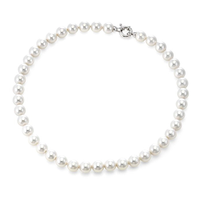"White Pearl Strand with Platinum Plated Clasp - 18"" 10mm"