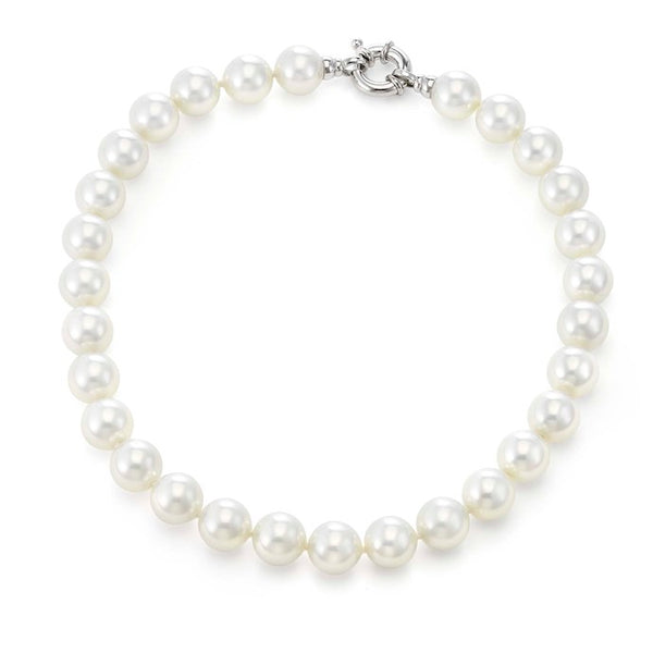 "White Pearl Strand with Platinum Plated Clasp - 18"" 14mm"
