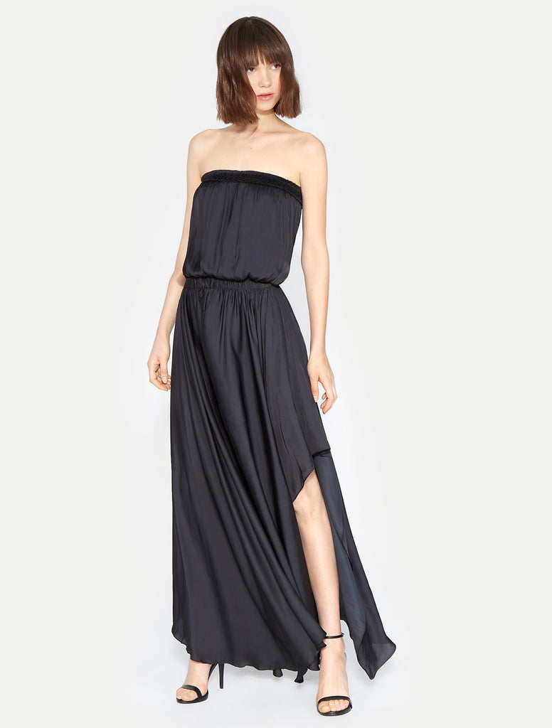Strapless Smocked Handkerchief Gown - Black