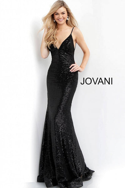 Fitted Backless Sequin Gown - Black